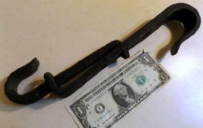 Unusual Small 19thC Blacksmith Made Wrought Iron Fireplace Trammel 10-14 inches