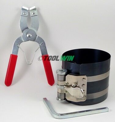 2 pc Ratcheting Piston Band Compressor with Ring Pliers Installer Tool Set