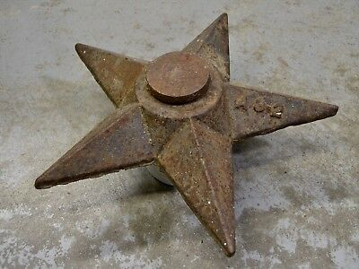 Large Original Antique Architectural Star Cast Iron Wall Anchor Steampunk