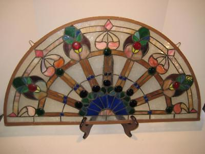 "Vintage Half Moon Salvage Stained Glass Window ~ 34"" X 17.75"" X .25"" ~ As Is"
