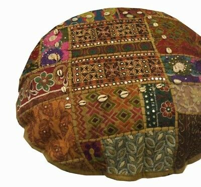 "Nr! 24"" Brown Antique Banjara Tribal Kutch Floor Throw Cushion Pillow Cover"