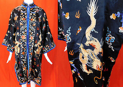 Vintage Chinese Colorful Silk Embroidered Precious Objects Dragon Robe Surcoat