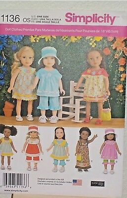 Doll Clothing  Pattern  Fits 18 inch  American Girl  -- 1136