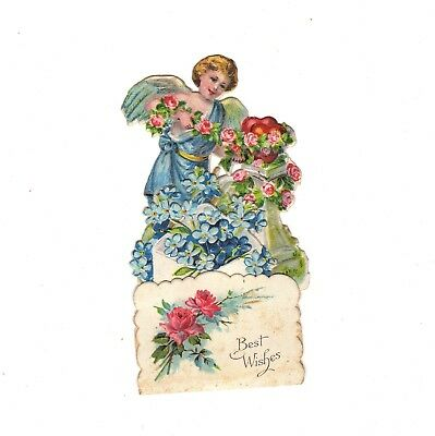 VALENTINE DAY Card Fold Out Pop Up Die Cut Angel Roses Germany Victorian Vintage