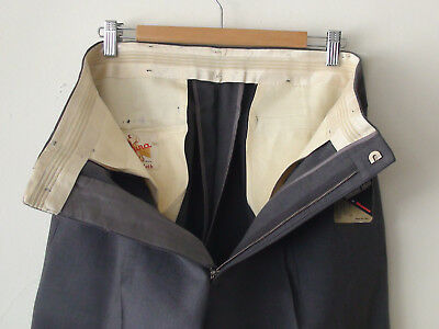 ORIGINAL VINTAGE DEADSTOCK 1940S MEN'S WOOL PANTS METAL ZIP W32 x 30