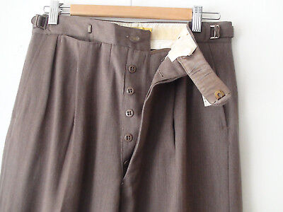 ORIGINAL VINTAGE DEADSTOCK 1940S MEN'S WOOL PANTS BUTTON FLY W31 x 31