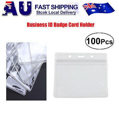 100x A1 Plastic Clear ID Card Holder Pouch clear lanyard work badge Zip Lock