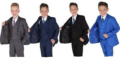 Boys Suits 5 Piece Wedding Page Boy Party Prom Suit Blue Black Grey 2-12 Years