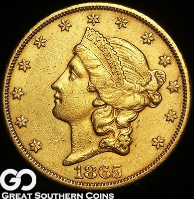 1865-S Double Eagle, $20 Gold Liberty, Choice AU Better Date San Francisco Issue