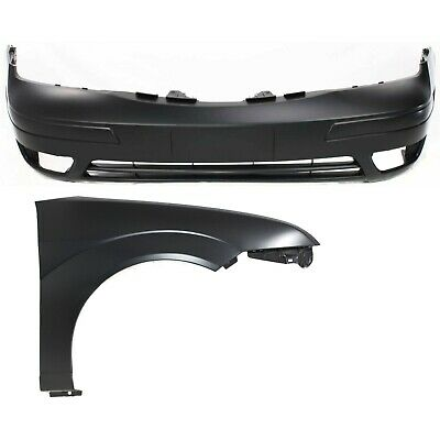 Bumper Cover Kit For 2008-2011 Ford Focus Front 2pc with Fender Primed