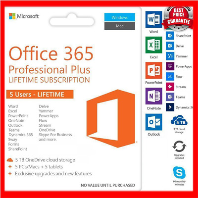 Microsoft Office 365 2016 Lifetime - Windows, Mac & Mobile - 5 Device License