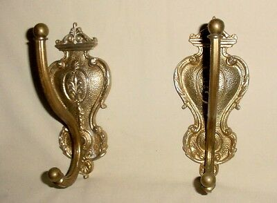 Antique Pair Bronze French Style Coat Hat Hangers Hooks Architectural 8""