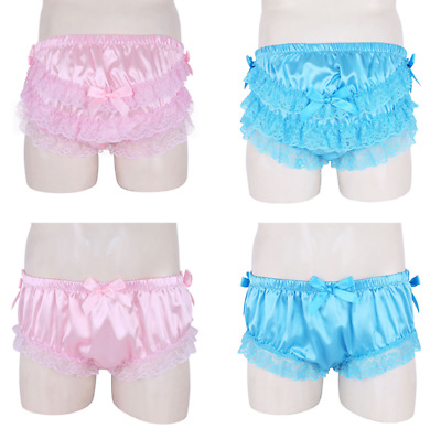 Satin Mens Shiny Ruffled Floral Lace Bow Briefs Sissy Panties Knickers Underwear