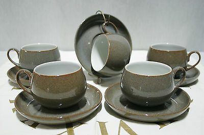 LOT of 5 DENBY Greystone Brown Tea Cup and Saucer SETS,  Mint!