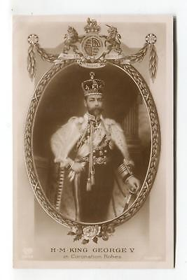 King George V in Coronation robes - old British royalty real photo postcard