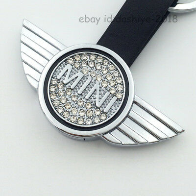 Black Leather double side crystal Metal Keychain car KeyRing fit for Mini Cooper