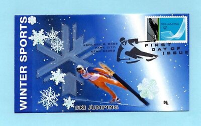 U.s. Fdc #3552 Hobby Link Cachet - Ski Jumping From The Winter Olympics Set