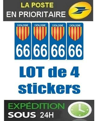 4 Stickers Plaque Immatriculation Departement 66 Logo Catalan Region Occitanie