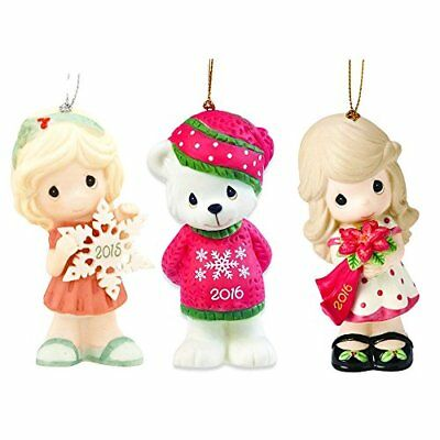 Precious Moments Ornaments Set - 3 Porcelain Christmas Ornaments, Figurines with