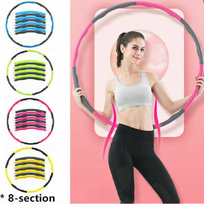 8 Sections Weighted Hula Hoop Foam Padded Fitness Exercise Hula Hoop 1KG Weight