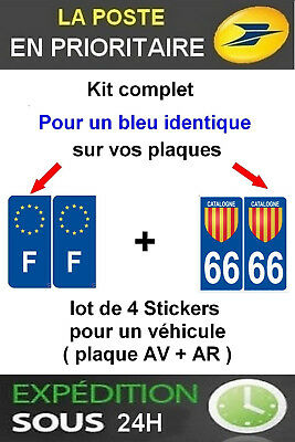 4 Stickers Blason Departement 66 Catalan + F Plaque Immatriculation Occitanie