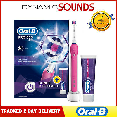 BRAUN ORAL B PRO 650 Pink Electric Toothbrush 3d Action White + Toothpaste