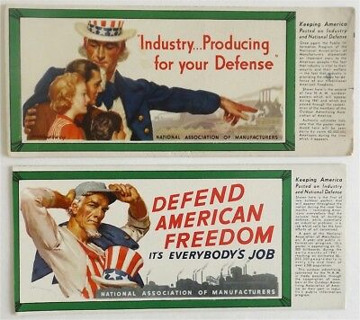 Lot of 2 McClelland Barclay WWII Uncle Sam US Industry Advertising Blotters 1941