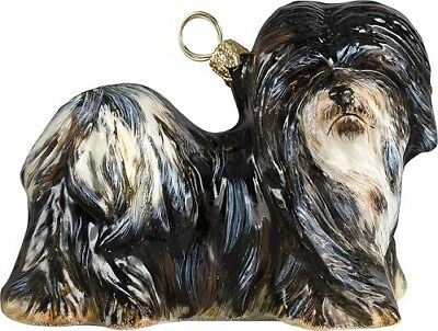 Black and White Lhasa Apso Dog Polish Blown Glass Christmas Ornament