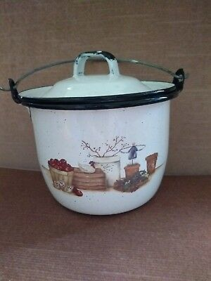 Vintage White W/Black Enamel Metal Pot  Lid and wire handle & Country Scene