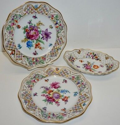 LOT of 3 Dishes BAVARIA SCHUMANN Floral with pierced edge detail ~ LOVELY!