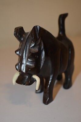 Wild Boar Pig Tusk Warthog Hog Hand Carved Dark Wood Animal Figure Figurine VTG