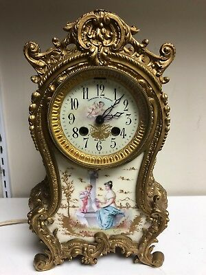 Antique Camerden & Forster NY mantle clock French Louis style Porcelain Rochette