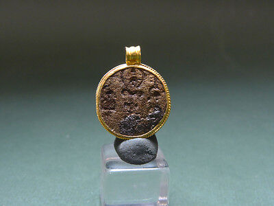 Ancient Christian Gold & Bronze Pendant Christ & Cross  Byzantine 400 -600 Ad