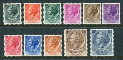 ITALY 1953-54 Definitives TURRITA MNH set to 200L 11 Stamps cat EURO 340
