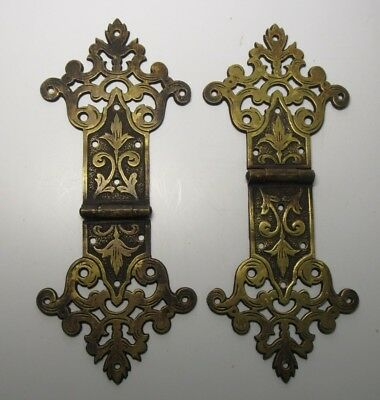 Pair of Antique Ornate Brass Door Hinges Book Hinges