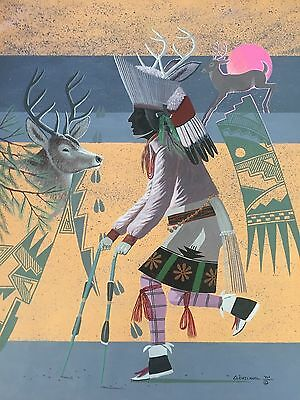 "Fred Cleveland Original  ""deer Dancer""  Painting On Poster Board 28"" X 22"""