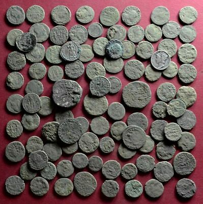 Lot of 100 NICE Quality A1 Follis Maiorina AE3 Roman coins - uncleaned #03