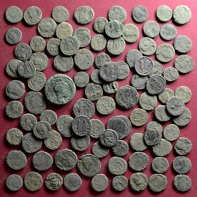 Lot of 100 NICE Quality A1 Follis Maiorina AE3 Roman coins - uncleaned #05