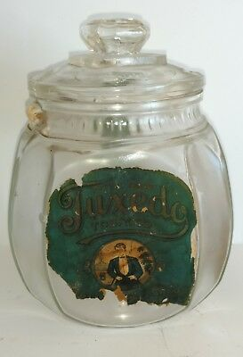 Vintage Glass PATTERSON'S TUXEDO TOBACCO Pocket tin, Jar with Lid Super Rare