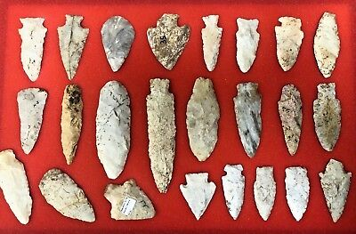 Nice Group of 24 Indian Arrowheads found in Southern Missouri Native American