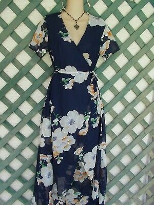 Blue White Floral Wrap Dress S-M New Church Party Wedding