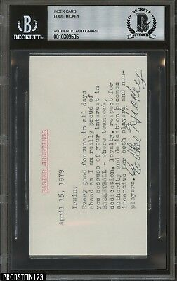 Eddie Hickey Signed Index Card AUTO Autograph Beckett BAS