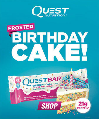 Quest Nutrition Protein Bar FROSTED BIRTHDAY CAKE Gluten Free