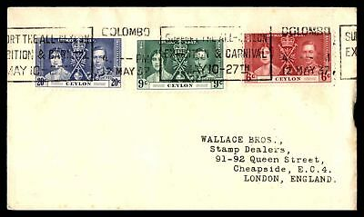 Colombo May 12 1937 Carnival & Exhibition Slogan Cancel On Cover To London Engla