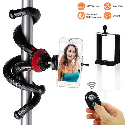 """11"""" Flexible Octopus Camera Tripod with Cell phone Holder and Bluetooth Shutter"""