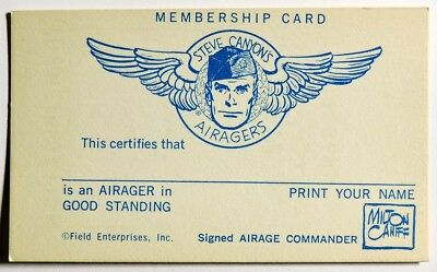 S832. VINTAGE: Milton Caniff STEVE CANYON'S AIRAGERS Membership Card (1950's)