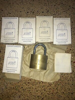 Lot Of 5 Solid Brass AWI CONVERT-A-PADLOCK Hardened Padlocks