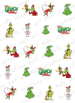 20 Christmas Nail Decals THE GRINCH Themed Assorted Water Slide Nail Decals