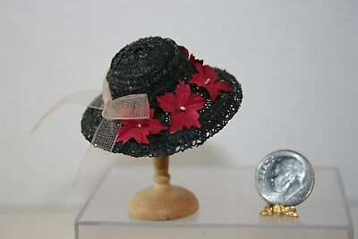 Miniature Dollhouse Vintage Estate Black Straw Hat w Poinsettia Flowers 1:12 NR