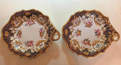 WORCESTER c1790 PAIR OF LEAF SHAPED DISHES, BLUE WITH FLORAL & GOLD (SEE BELOW)